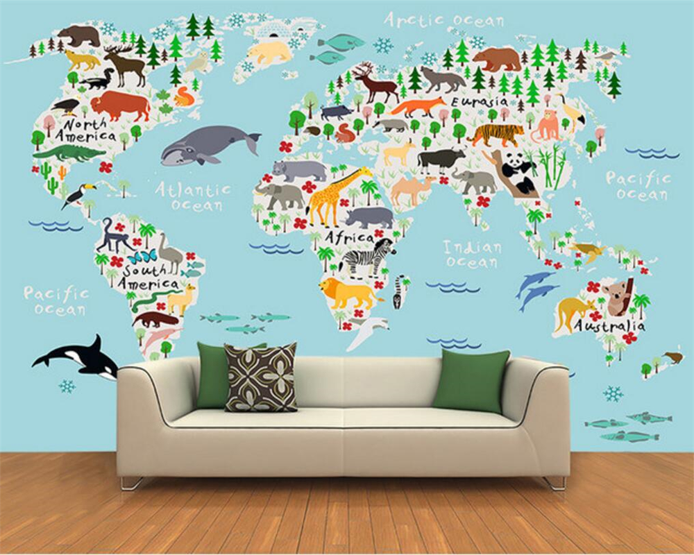 Beibehang Custom Photo Wallpaper 3D Cartoon World Map