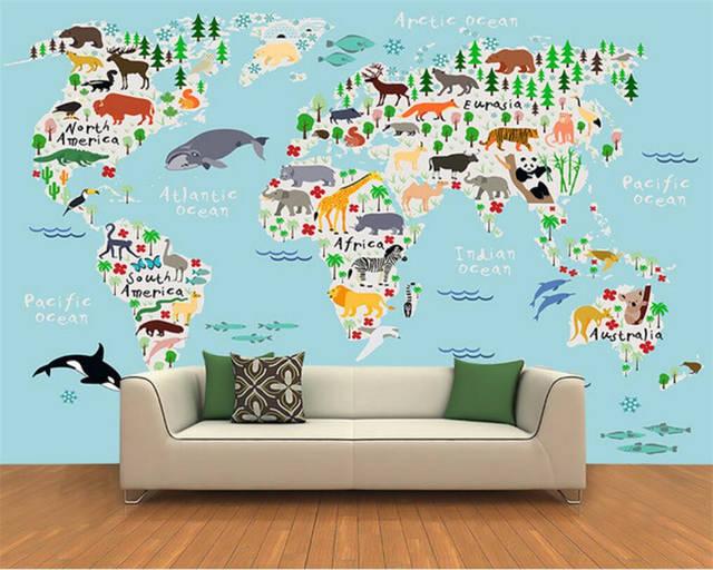 Online Shop Beibehang Custom photo wallpaper 3D cartoon world map ...