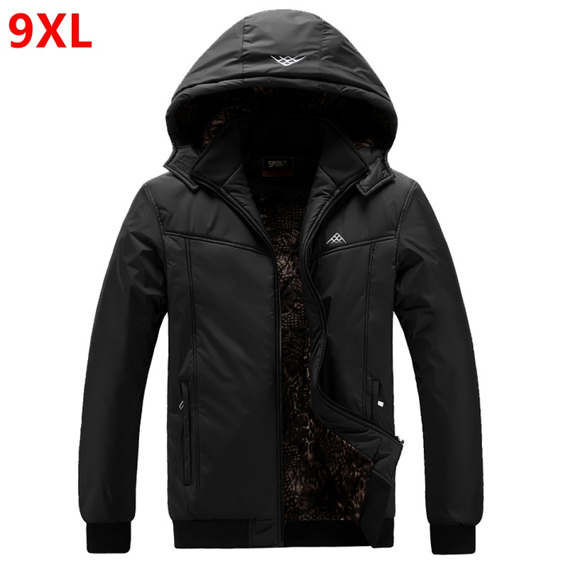 Extra large men's jacket big man thick coat winter oversized hat datachable waterproof jacket 9XL 8XL black plus size   Parkas
