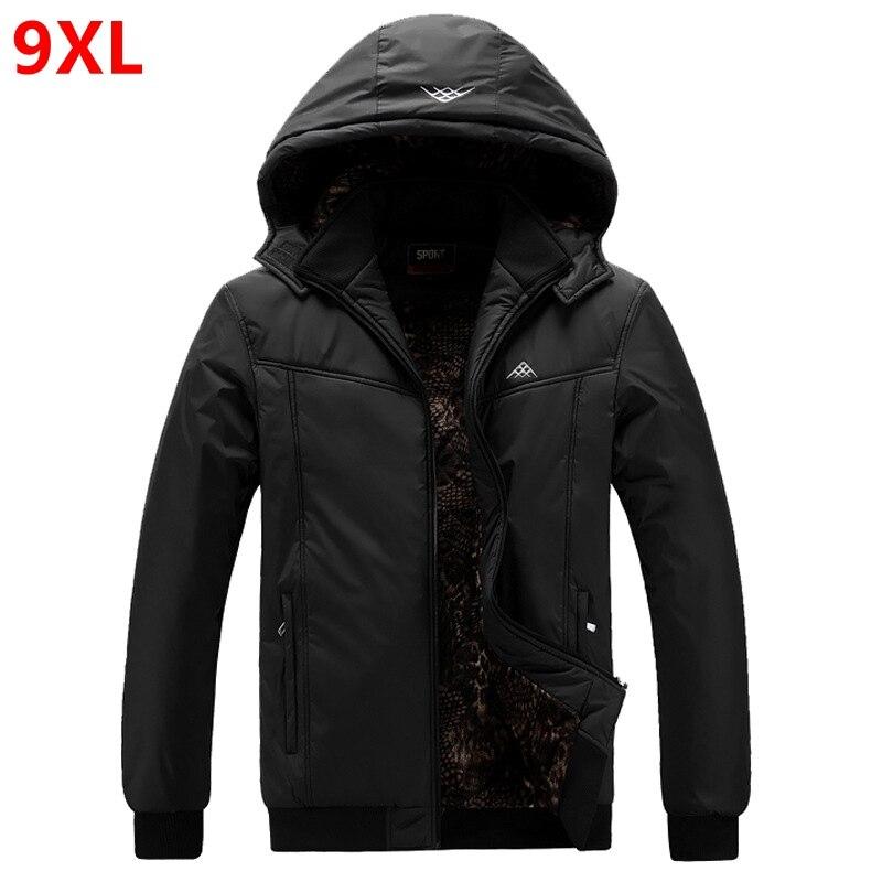 Extra Large Men's Jacket Big Man Thick Coat Winter Oversized Hat Datachable Waterproof Jacket 9XL 8XL Black Plus Size Parkas