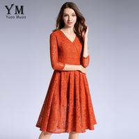 YuooMuoo New High Quality Women Elegant Lace Dress For Business Ladies V Neck Empire Office Dress