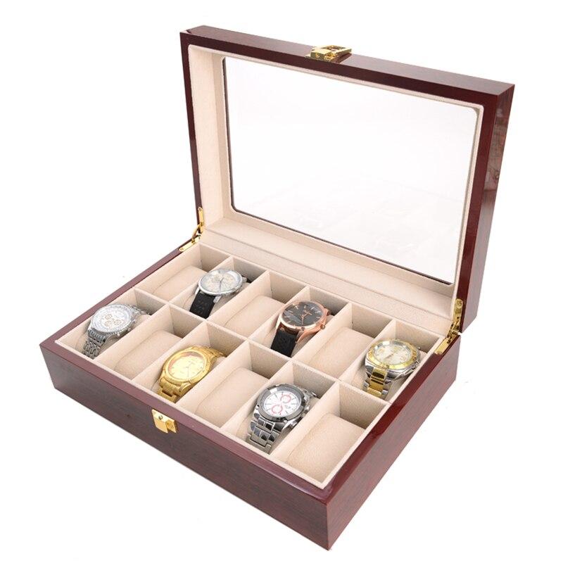 2019 nouveau boîtier de montre en bois 12 grilles boîtier de montre pour heures gaine pour heures boîte pour heures montre - 4