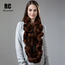 [Rancyword] Scarf Women Winter Real Rex Rabbit Fur Female Natural fur Scarves Long Pashmina Ring bandana RC1334