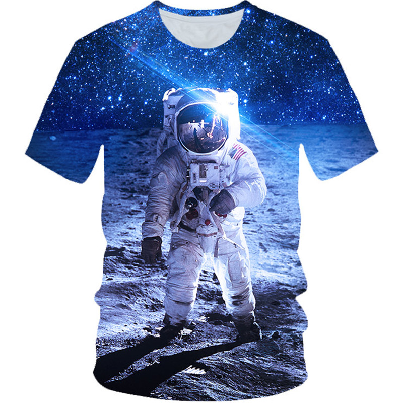 T-Shirt Boys Pullover Balloon Planet Astronaut Space Girls Galaxy Children Summer 3d-Printing