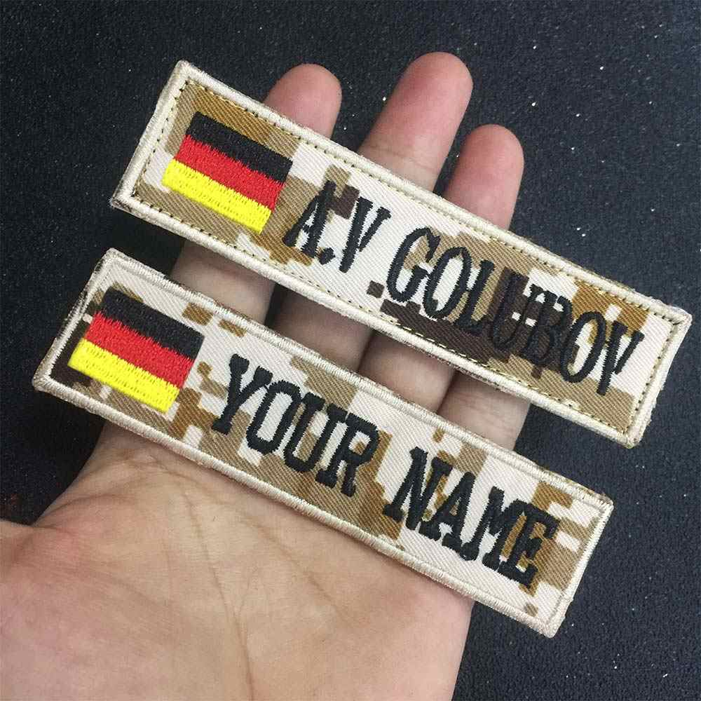 245efe014003 Custom Embroidery Germany Camo Name Patch, 2 pcs Personalized Military  Number Tag Customized Logo ID For Multiple Clothing Bag