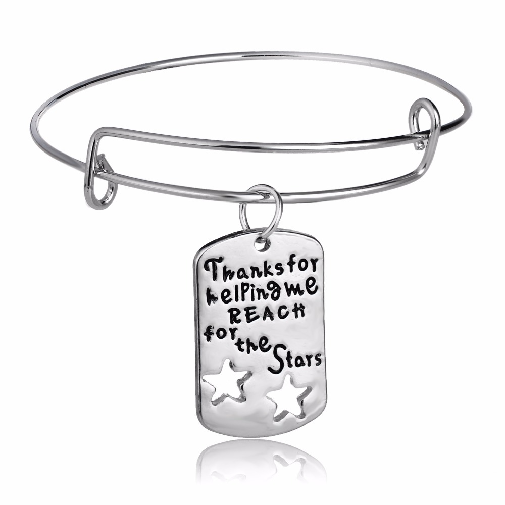"""/""""Thanks for helping me REACH for the Stars/"""" Teacher Thank you pendant charms x 5"""