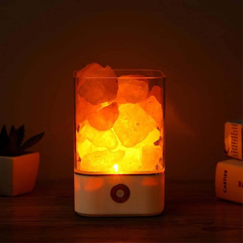 Lámpara de sal natural del Himalaya de la luz de cristal del USB Lámpara led purificador de aire creador del humor lámpara de mesa cálida de interior del dormitorio lámpara de lava