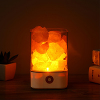 USB кристалл свет натуральный лампа из гималайской соли Светодиодная лампа очиститель воздуха настроение создатель Крытый теплый свет наст...