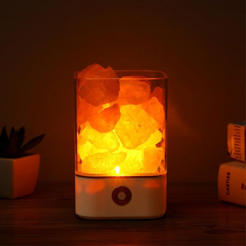 USB de luz de cristal natural de sal del himalaya lámpara led purificador de aire de humor creador interior caliente de la lámpara de mesa de luz de habitación lava lámpara