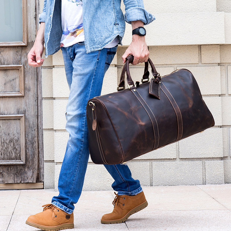 Bagaj ve Çantalar'ten Seyahat Çantaları'de Ekstra büyük erkek seyahat çantası kalın çılgın at hakiki deri silindir seyahat çantası dizüstü iş çanta bagaj haftasonu çantası 60cm'da  Grup 1