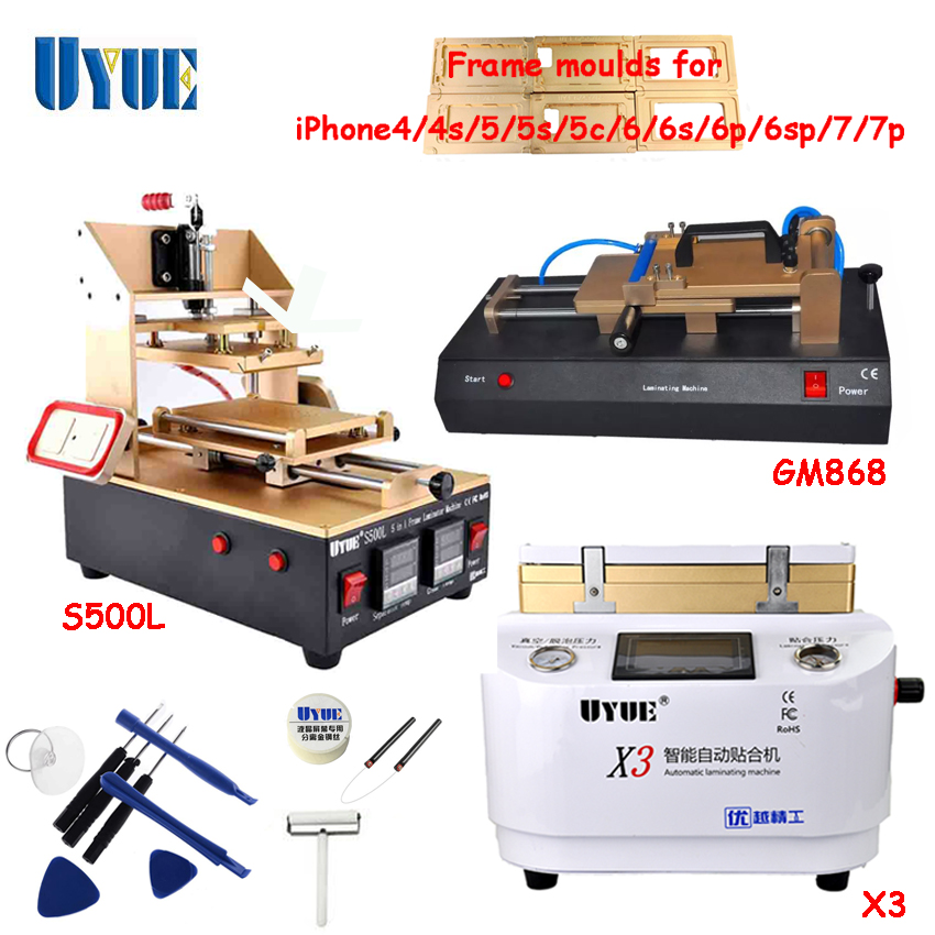 UYUE Screen Repair Machine Set 5 In 1 Separator Machine +OCA Vacuum Laminating Machine+OCA Film Laminator Machine S500L+X3+GM868 3 in 1 multifunction preheater station middle bezel frame separator machine vacuum screen separator machine