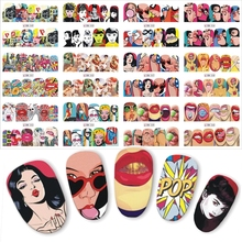 1 set 12 Nail Designs Full Cover Water Transfer Sticker Nail Art Pop Art Slider Lips Cool Girl Sexy Women Designs DIY Manicure 3d nail art fimo soft polymer clay fruit slices cartoon for nail manicure sticker cell phones diy designs wheel decoration czp35