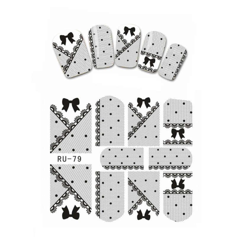 Nail Sticker WATER TRANSFER DECAL FULL COVER BLACK BOW TIE KISS BIRD BUTTERFLY CARTOON CAT LAVENDER RU079-084
