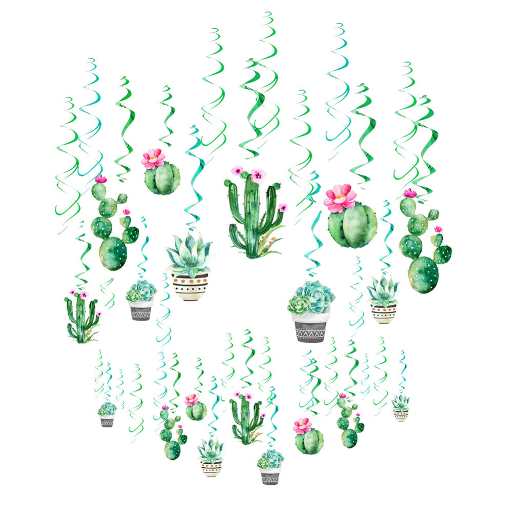Cactus Party Decoration Set Hanging Swirls Latex Balloons Tissue Paper Tassel Garland Llama Kids Birthday Party Wedding Shower in Party DIY Decorations from Home Garden