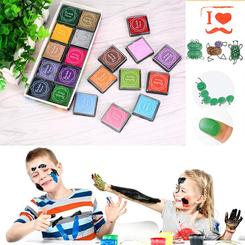 20pcs Colorful DIY Craft Finger Print Ink Pad Inkpad Rubber Stamps Inkpads Ink & Pads Toys Kids Games Accessories  Hot S tri fidget hand spinner triangle metal finger focus toy adhd autism kids adult toys finger spinner toys gags