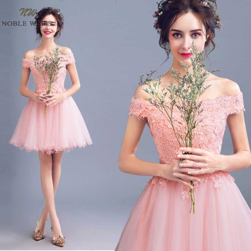 NOBLE WEISS Short   Prom     Dress   High Quality Fashion Boat Neck A-Line Lace Appliques Beading Sexy Party Gown   Dresses