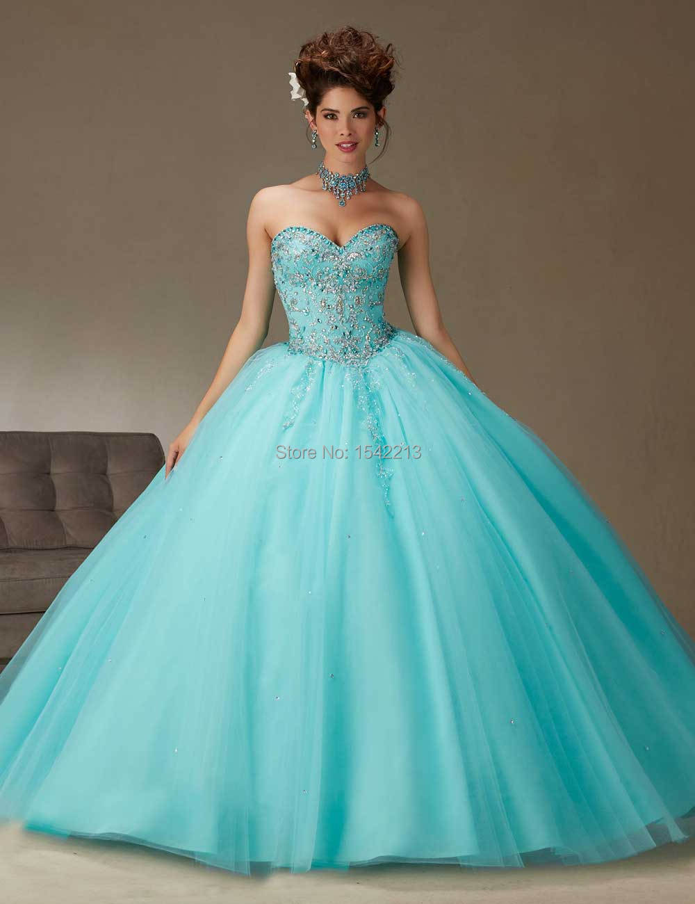 2017 High Quality Beaded Quinceanera Dress Pink Ice Blue Ball Gown ...