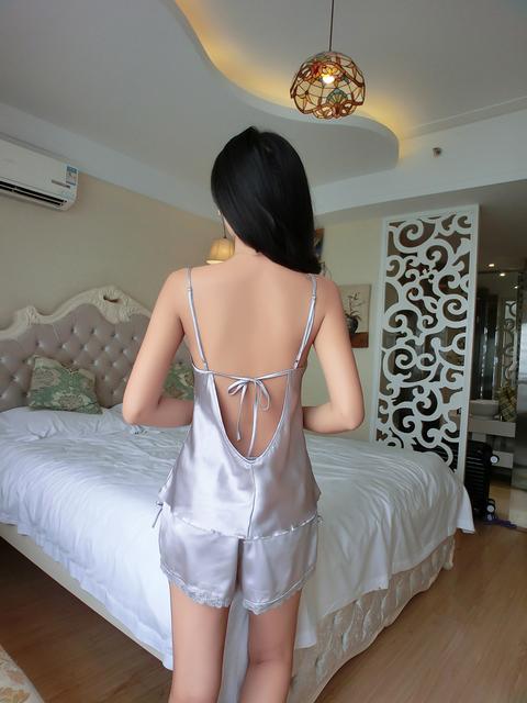 Lisacmvpnel PIJAMA New V-Neck rayon silk women's sleepwear spaghetti strap lace sexy pajama set
