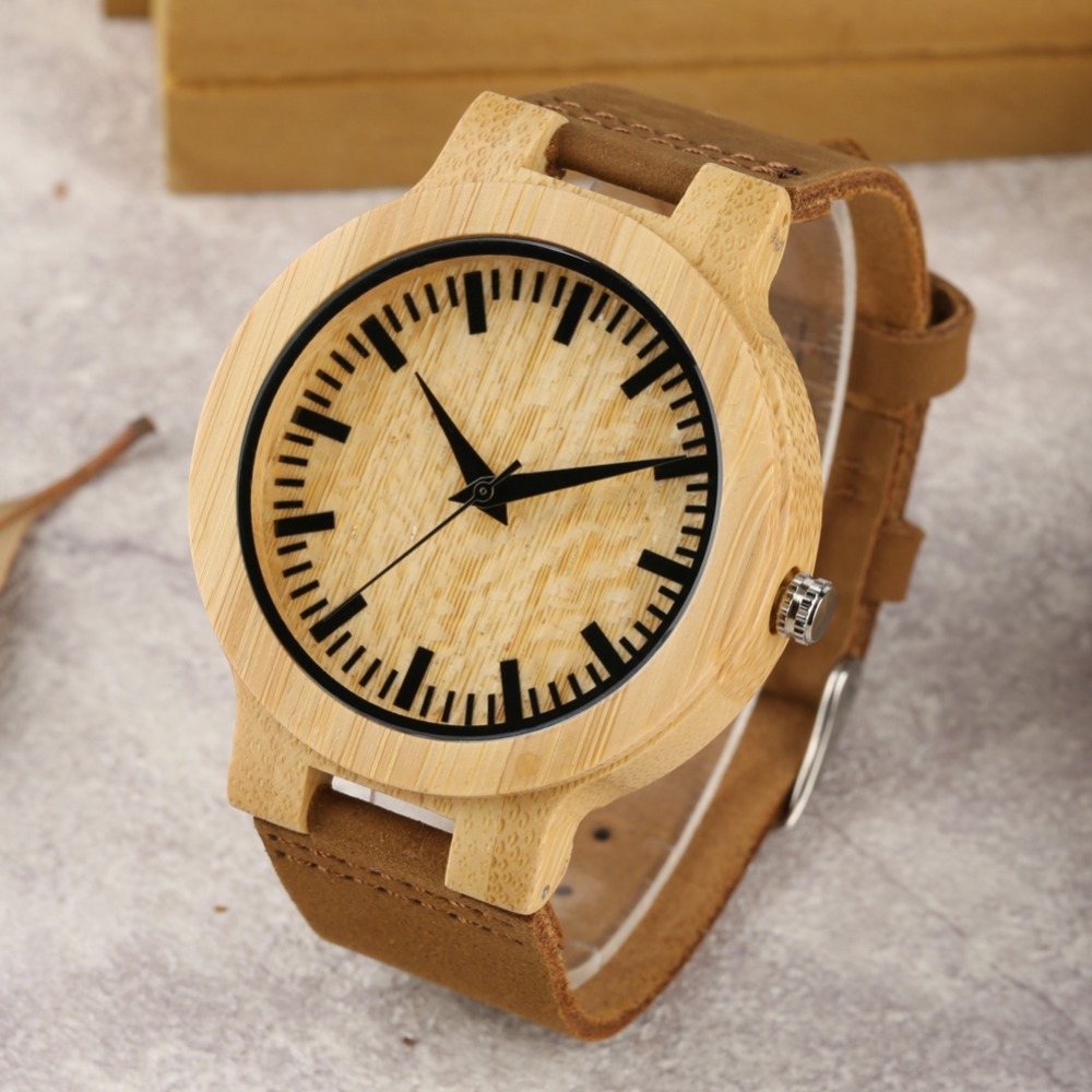2019 Unique Wooden Fashion Watch Men Leather Band Lightweigt Handmade Men Wristwatch Quartz Movement Bamboo Wood Case Men Watch