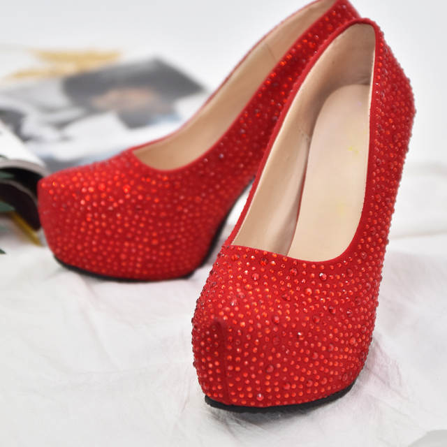 Online Shop GAORUI Women High Heels Prom Wedding Shoes Crystal Platforms  Glitter Heels Rhinestone Bridal Shoes Thin Heel Lacing Party Pump  d230e98d9b25
