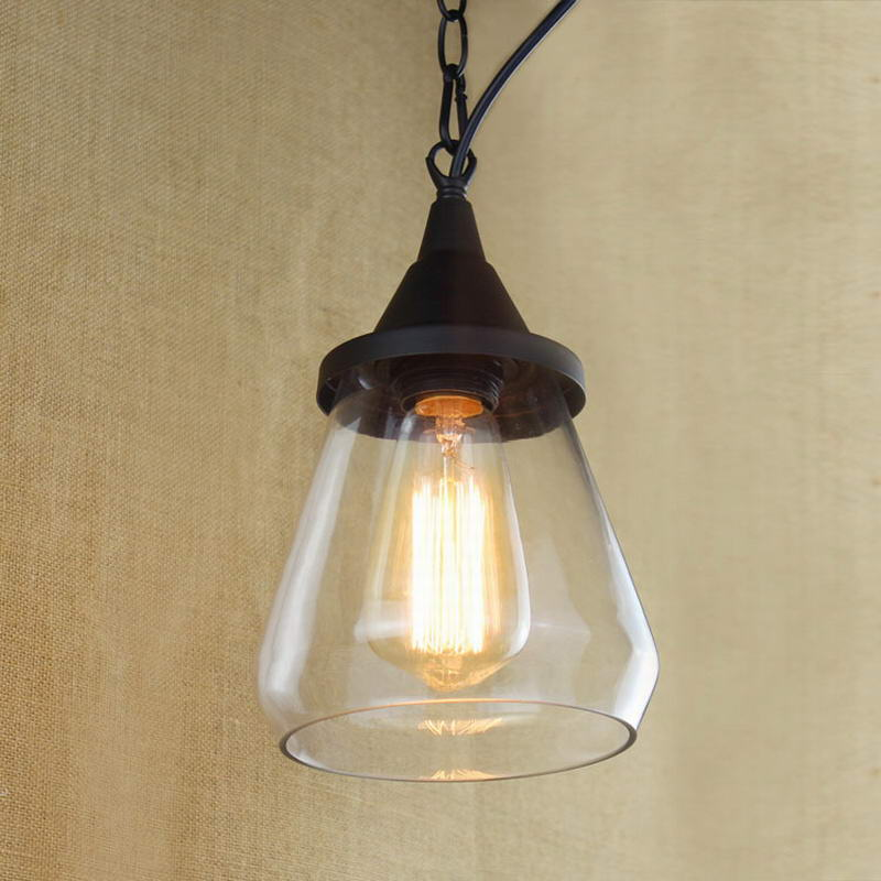 Retro Lamps Glass Vintage Light Hanging Clear Cup Pendant Lamp With Edison Bulb Kitchen Lights