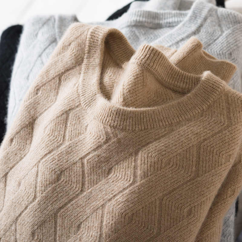 Herbst Winter Authentische Kaschmir Pullover Männer der 100% Casual Lose Oansatz Langen ärmeln Stricken Pullover Mann Stricken Bodenbildung Pullover