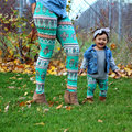 Christmas Family Matching Outfits Mother daughter pants 2016 EU poplar Lycra feet printed Leggings Mommy and me fashion WT5001
