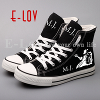 E LOV Brand Men S Shoes Printed Michael Jackson Casual Flat Leisure Shoe High Top Unisex