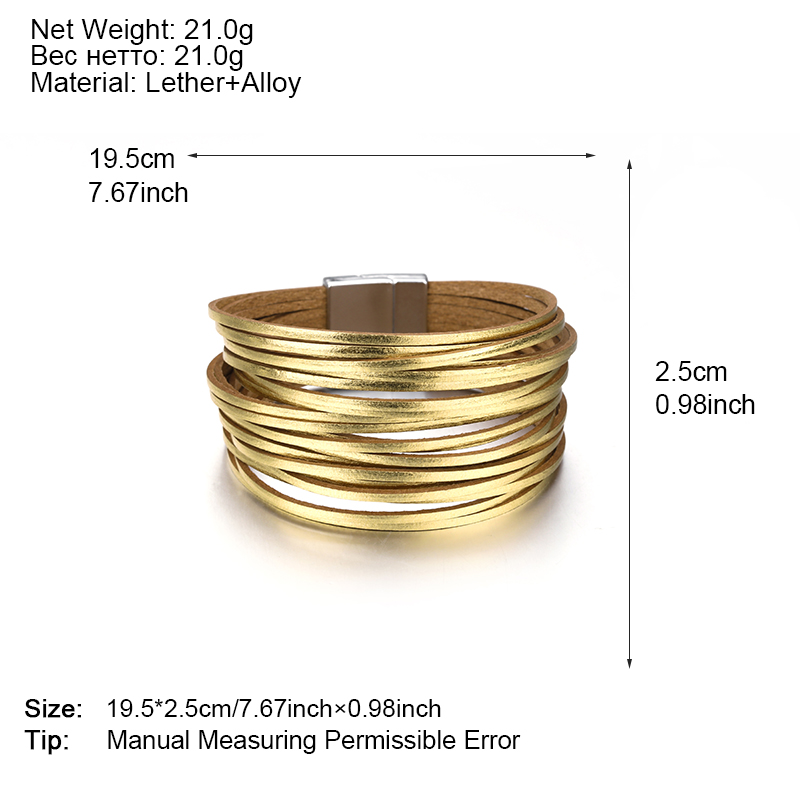 ALLYES Leather Bracelets For Women 2019 Fashion 20 Strips Boho Multilayer Wide Wrap Bracelet Jewelry in Wrap Bracelets from Jewelry Accessories