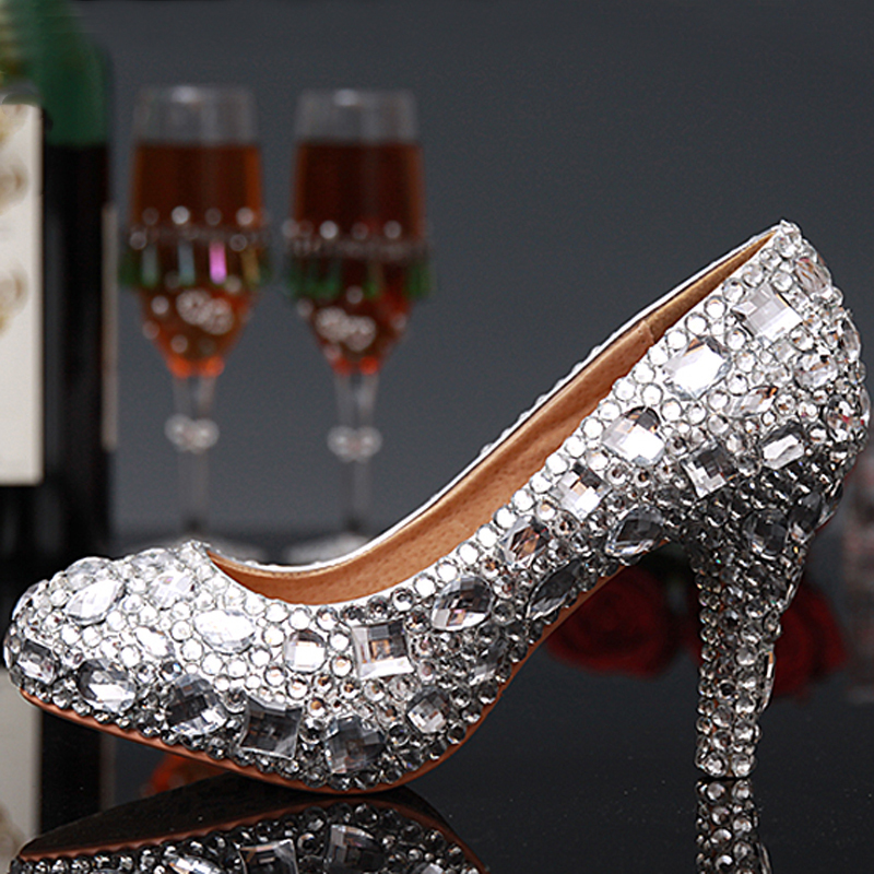 Luxury Graduation Party Prom Shoes High Heel Silver Crystals Rhinestones Bridal wedding shoes Diamond Lady Shoes Wedding Party цены онлайн