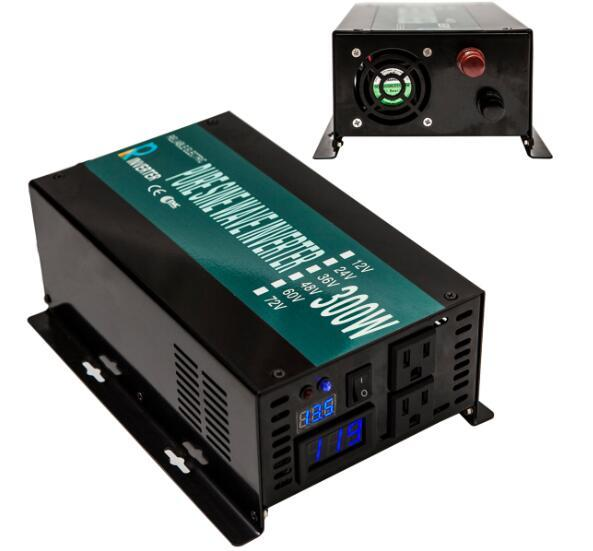 600W Peak DC to AC Converter Off Grid Pure Sine Wave Solar Power Inverter 300W LED Display With Remote Controller