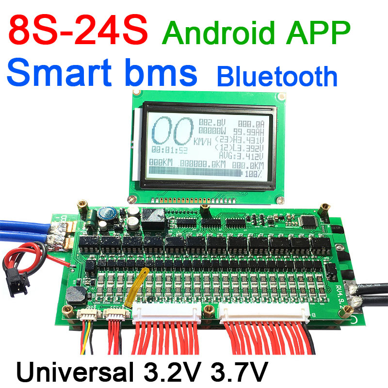 8S To 24S Lifepo4 Li-ion Lithium Battery Protection 70A/100A/150A/200A/300A Smart Bms Bluetooth App LCD Display 10S 13S 14S 16S