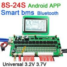 Proteção de bateria de lítio de íon de lítio, 8s para 24s lifepo4 70a/100a/150a/200a/300a inteligente bms aplicativo bluetooth display lcd 10s 13s 14s 16s