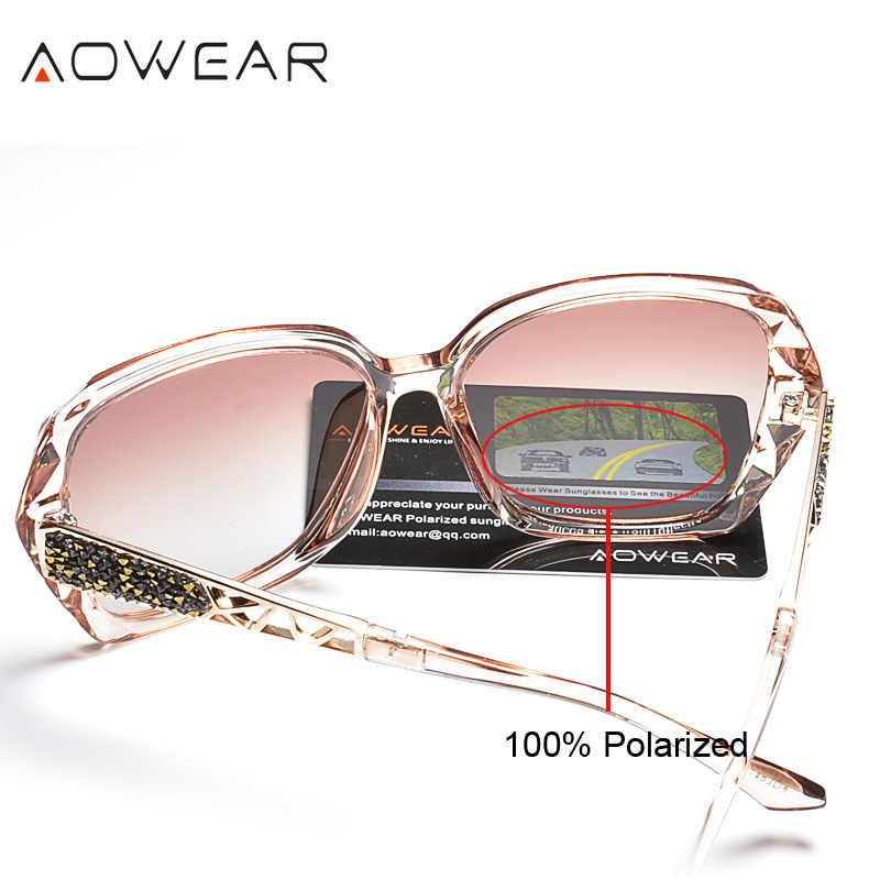 Женские квадратные солнцезащитные очки AOWEAR, большие поляризационные очки для вождения, черные солнцезащитные очки со стразами