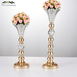 Florero de mesa de oro soporte de flores de Metal 52 CM/21 ''centro de mesa para el matrimonio floreros de Metal para la decoración de la boda 01603