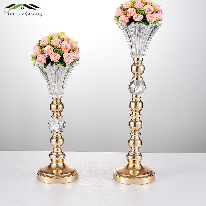 "Gold Tabletop Vase Metal Flower Holder 52CM/21"" Table Centerpiece For Mariage Metal Flowers Vases For Wedding Decoration 01603"