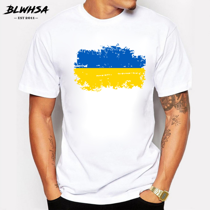 Ukraine National Flag Summer   T     shirts   For Men Casual 100% Cotton Nostalgic Ukraine Flag Cheer   T  -  shirts   for Men