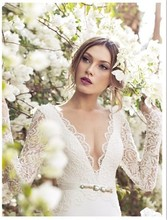 2016 Julie Vino V Neck Lace Mermaid Vintage Wedding Dress Open Back Long Sleeve Chiffon Bridal Gown Court Train ZY1198