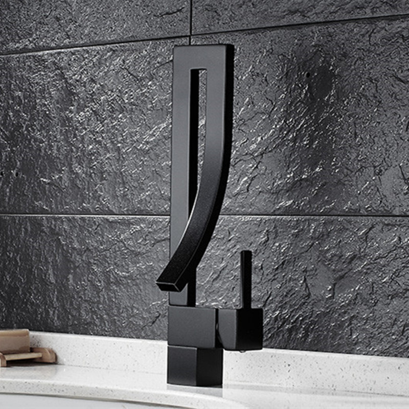 Free Shipping New design solid brass bronze kitchen faucet with single handle black bathroom basin sink faucets