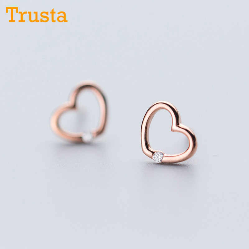 Trusta 2018 100% 925 Sterling Silver Jewelry Fashion Cute Tiny 8mmX7mm Hollow Heart Stud Earrings Gift For Girls Kids Lady DS514