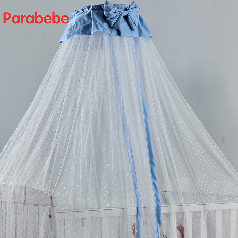 baby crib netting hung dome baby mosquito net for children bed Bow tie cute girls bedroom 100% polyester crib mosquito nets