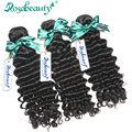 Rosa Продукты Волос 3 Пучки Необработанные Индийские Виргинские Волосы Вьющиеся 100% Человеческих Волос Глубокая Волна Бесплатная Доставка