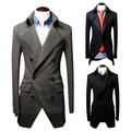 Slim bleiser masculino Hot Sale new 2015 fashion casual Slim three double buckle suit jacket blazer men ternos masculino 3 color