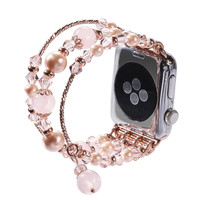Women Watch Band For Apple Watch 38mm 42mm Fashion Natural Stone Rose Beads Bracelet For IWatch