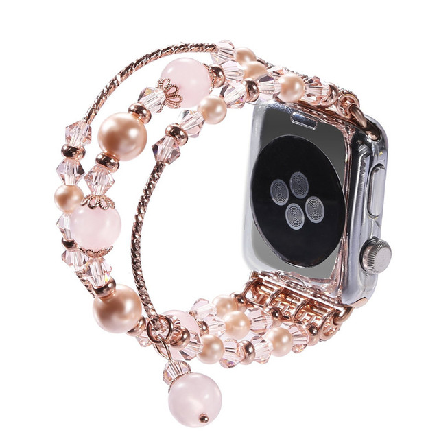 6e642676b04 Women Watch Band For Apple Watch 38mm 42mm Fashion Natural Stone Rose Beads  Bracelet For iWatch Strap Series1 2 Girl Wrist Bands