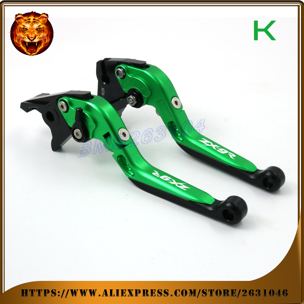 Adjustable Folding Extendable Brake Clutch Lever For kawasaki ZX9R ZX-9R 1998 1999  Green CNC  Free shipping Motorcycle полиэстер сатин proton ps4139 30мм 200м чёрный