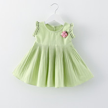 Baby Girl Clothes Short-sleeve Baby Girl Dress Infant Baby Summer Clothes Solid Princess Dress Bow Appliques Casual Dress