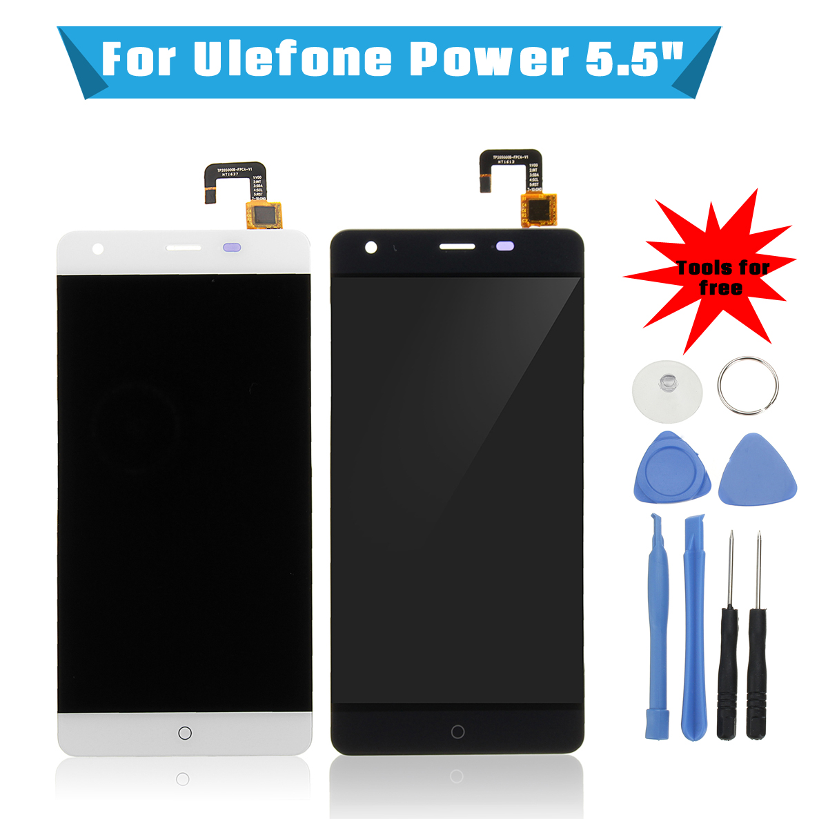 Leory 1Pcs 5.5 Inch LCD Display+Screen Digitizer Assembly Replace+Tool For Ulefone Power Black/White With Service Tools
