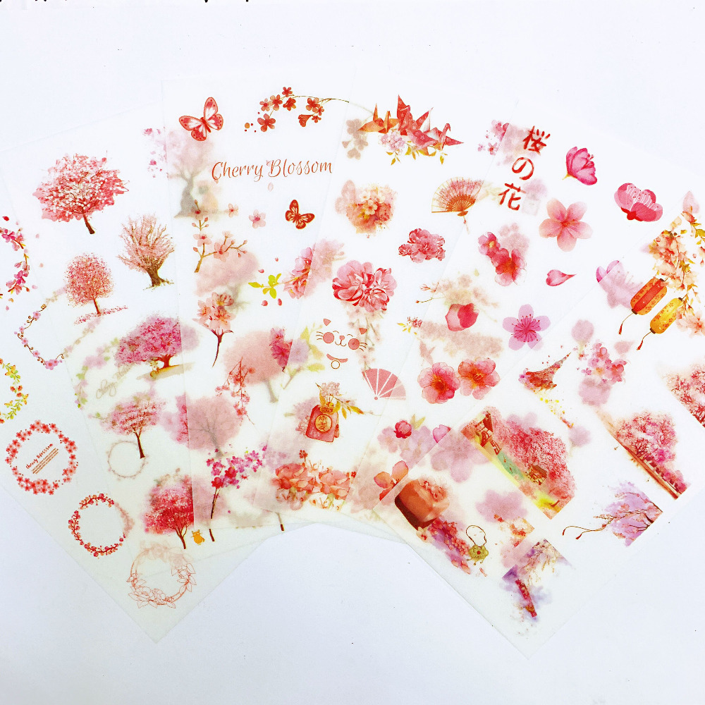 6 Sheets Pink Spring Sakura Adhesive Stickers Decorative Album Diary Stick Label Paper Hand Account Decor Kids Gift