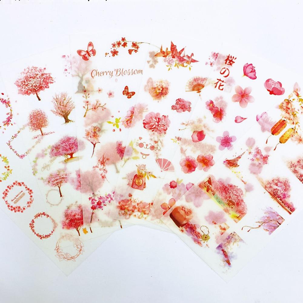 6 Sheets Pink Spring Sakura Adhesive Stickers Decorative Album Diary Stick Label Paper Hand Account Decor Kids Gift